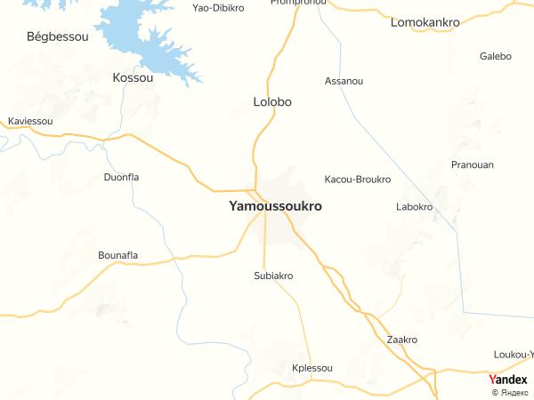 خريطة  ياموسوكرو ، جمهورية كوت ديفوار