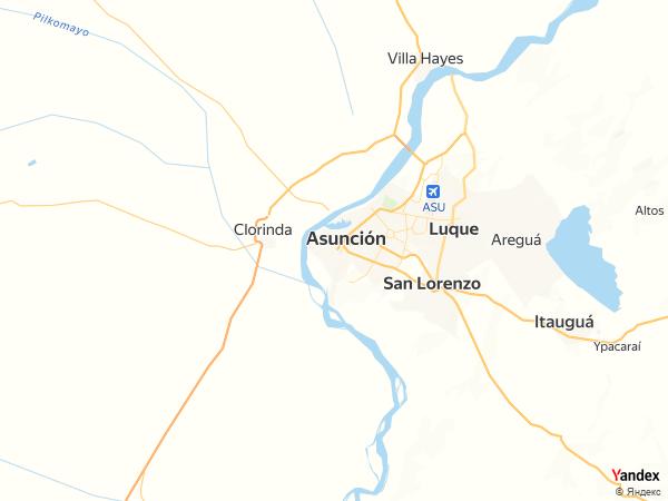 خريطة  اسونسيون ، جمهورية الباراغواي