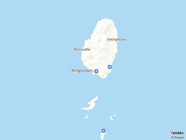 خريطة  كينغستاون ، سانت فنسينت والجرينادينز