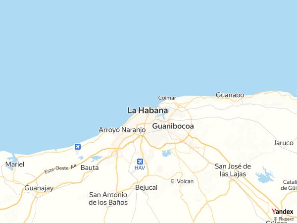 خريطة  هافانا ، جمهورية كوبا