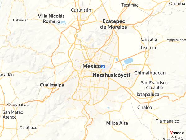 خريطة  مكسيكو سيتي ، الولايات المكسيكية المتحدة