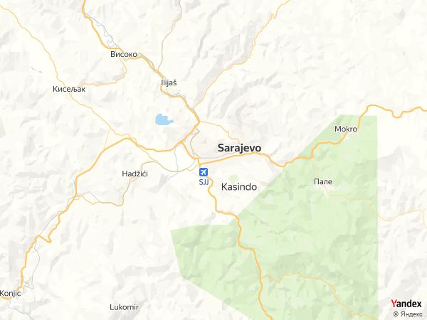 خريطة  سراييفو ، جمهورية البوسنة والهرسك