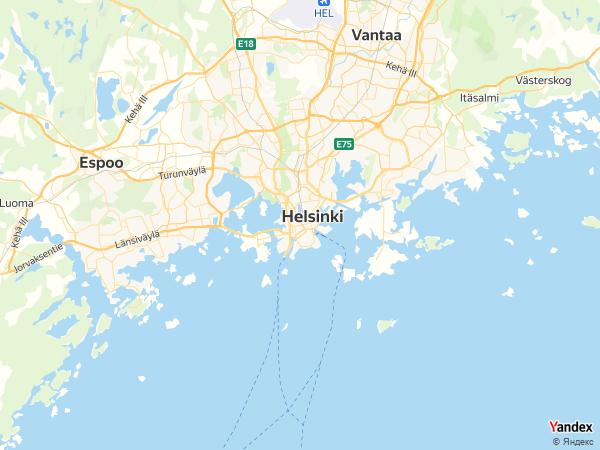 خريطة  هلسنكي ، جمهورية فنلندا