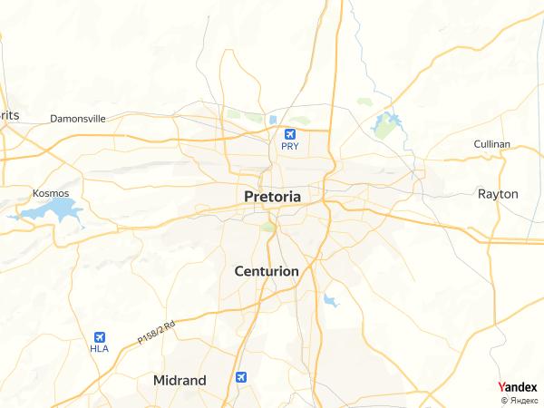 خريطة بريتوريا، جمهورية جنوب أفريقيا