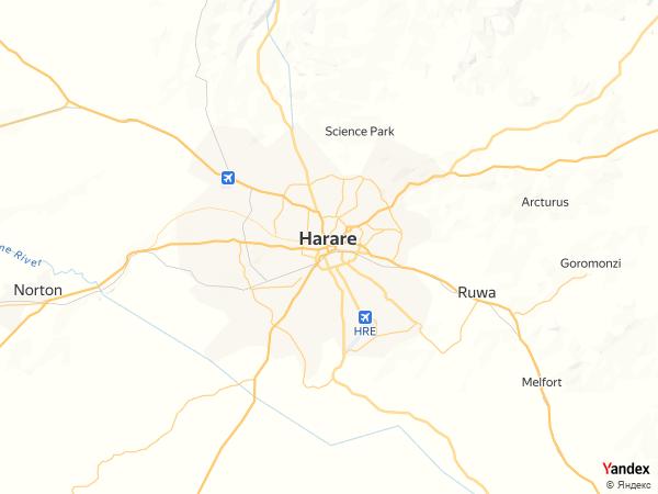 خريطة  هراري ، جمهورية زيمبابوي