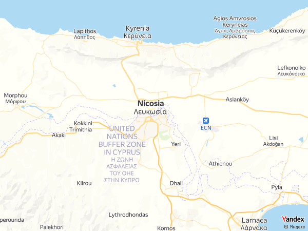 خريطة  نيقوسيا ، جمهورية قبرص