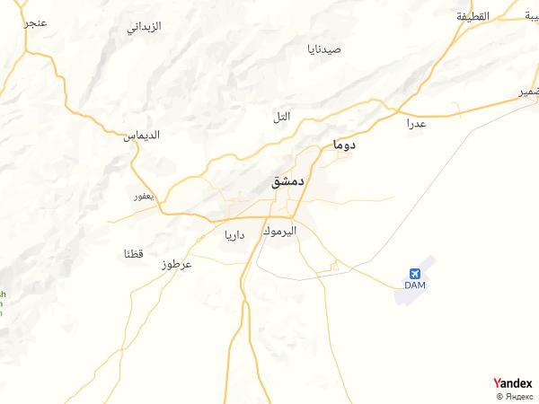 خريطة  دمشق ، الجمهورية العربية السورية