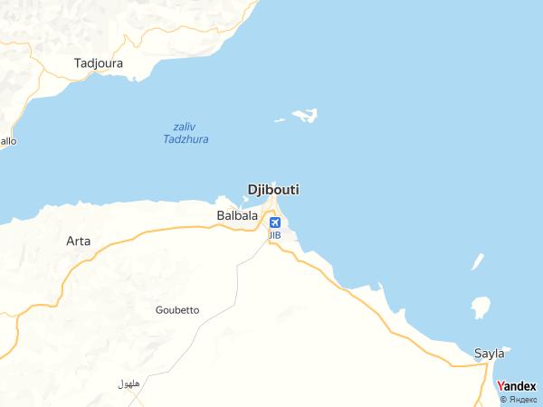 خريطة جيبوتي العاصمة، جمهورية جيبوتي