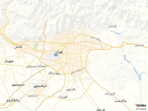خريطة  طهران ، الجمهورية الإيرانية الإسلامية