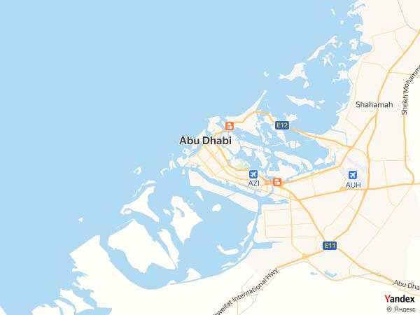 خريطة  أبوظبي ، دولة الإمارات العربية المتحدة