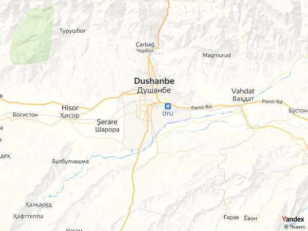 خريطة  دوشنبه ، جمهورية طاجيكستان