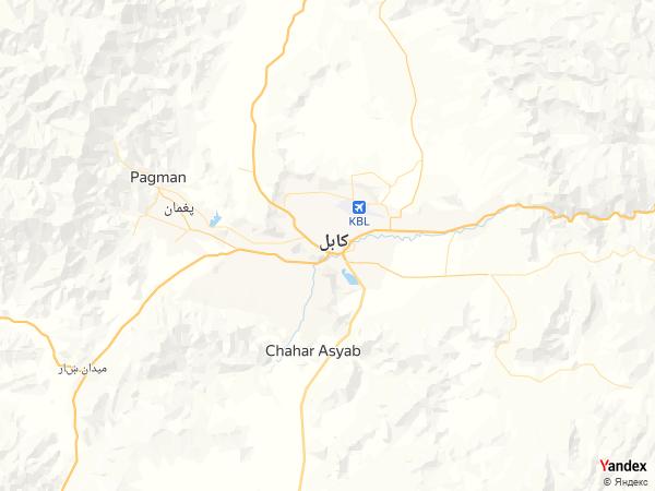 خريطة  كابول ، جمهورية أفغانستان الإسلامية
