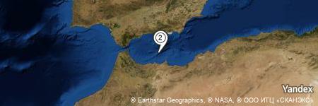 Yandex Map of 25.321 miles of Isla de Alborán Lighthouse