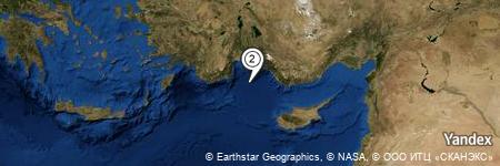 Yandex Map of 23.844 miles of Gulf of Antalya