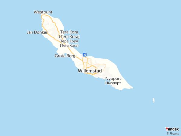 Map Willemstad، Netherlands Antilles