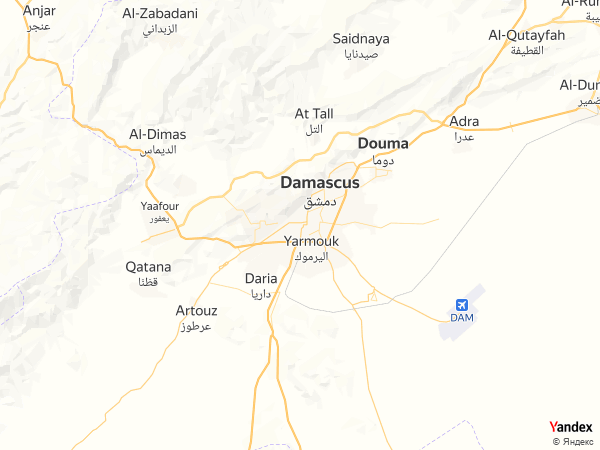 Map Damascus، Syria