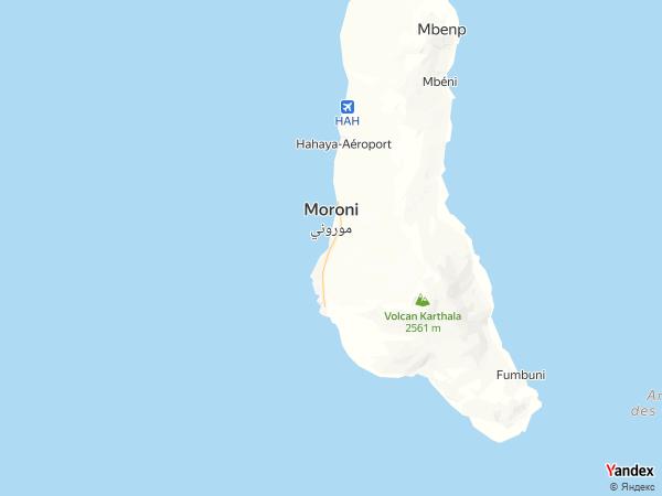 Map Moroni، Comoros