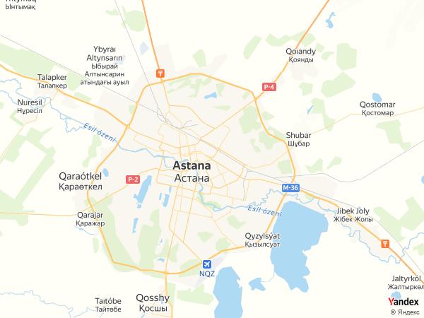 Map Astana، Kazakhstan