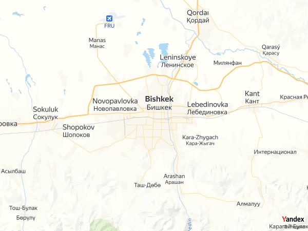 Map Bishkek، Kyrgyzstan