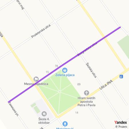 Београдска улица на Yandex мапи