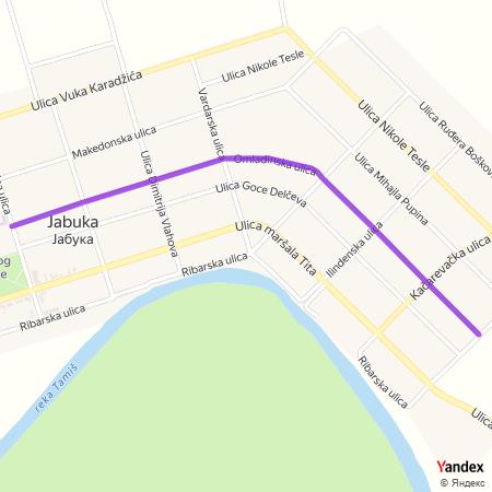 Омладинска улица на Yandex мапи