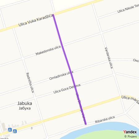 Улица Димитрија Влахова на Yandex мапи