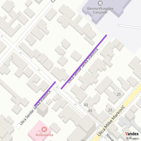 Улица сердар Јанка Вукотића на Yandex мапи