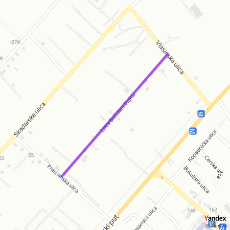Улица Божидара Вујића на Yandex мапи