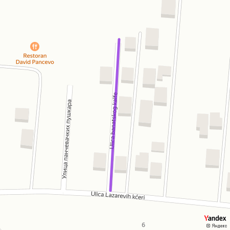 Улица банатског калфе на Yandex мапи