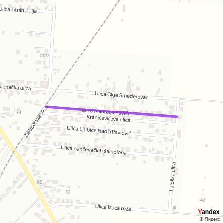 Улица Милорада Павића на Yandex мапи