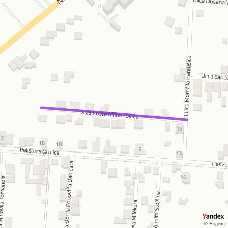 Улица Косте Милутиновића на Yandex мапи