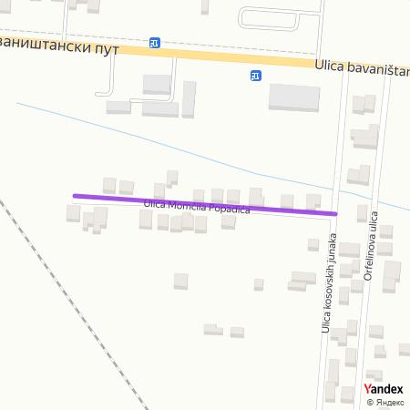 Улица Момчила Попадића на Yandex мапи