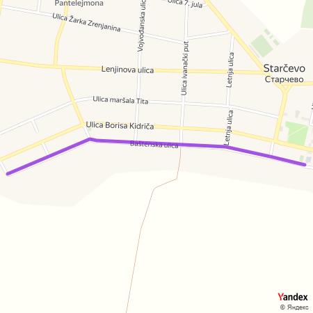 Баштенска улица на Yandex мапи