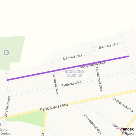 Виноградска улица на Yandex мапи