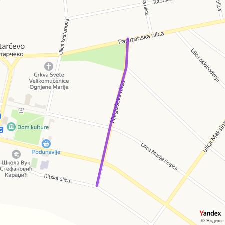 Његошева улица на Yandex мапи