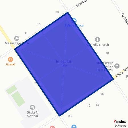 Трг маршала Тита на Yandex мапи