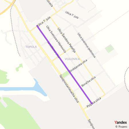 Јаношикова улица на Yandex мапи