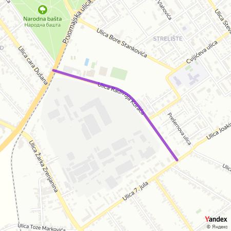 Улица Радивоја Кораћа на Yandex мапи