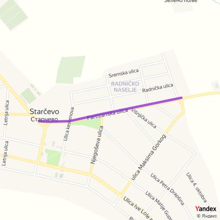 Партизанска улица на Yandex мапи