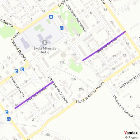 Улица Иве Андрића на Yandex мапи