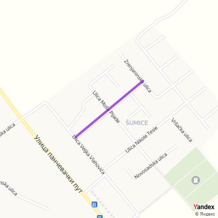 Улица Михајла Пупина на Yandex мапи