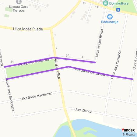Улица Жарка Зрењанина на Yandex мапи