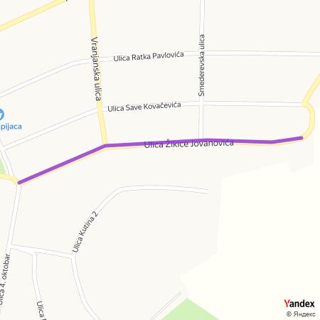 Улица Жикице Јовановића на Yandex мапи