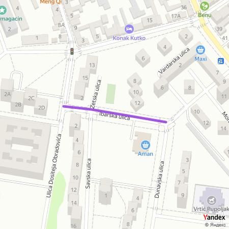 Ибарска улица на Yandex мапи