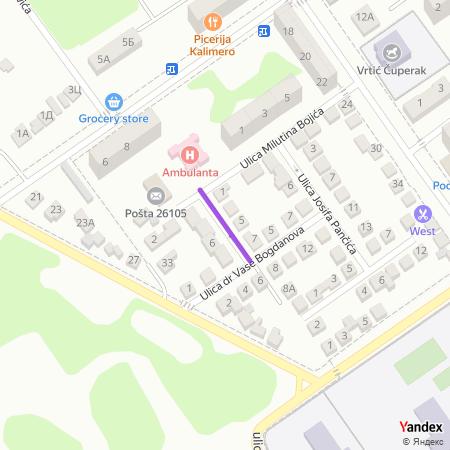 Улица Васе Пелагића на Yandex мапи