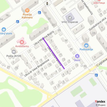 Улица Јосифа Панчића на Yandex мапи