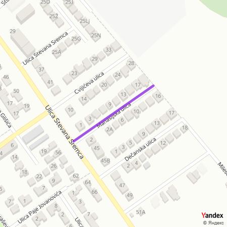 Манасијска улица на Yandex мапи
