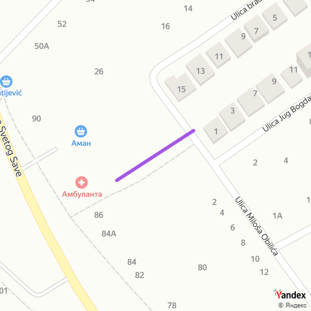 Улица Старина Новак на Yandex мапи