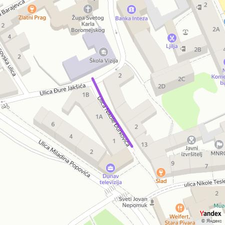 Улица Николе Ђурковића на Yandex мапи