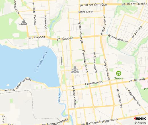 Карта Ижевска с улицами и номерами домов онлайн — Яндекс.Карты